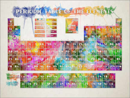 Premiumposter  Periodic table of elements watercolor - Bekim Mehovic