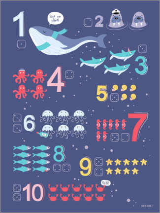 Aluminiumtavla  Counting numbers with marine animals - Heyduda