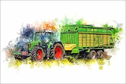 Premiumposter  Tractor with harvest wagon - Peter Roder