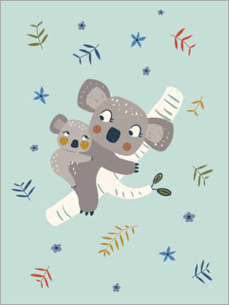 Premiumposter  Koala mom with baby, blue - Marta Munte