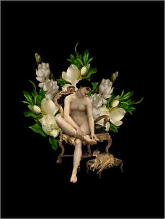 Galleritryck  Vintage girl with magnolias and cat - UtArt