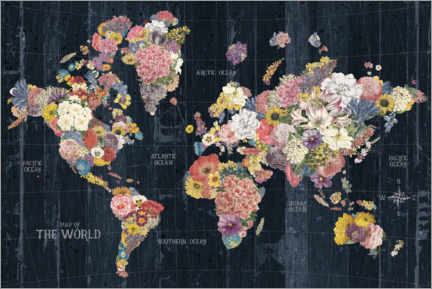 Premiumposter World map made of flowers