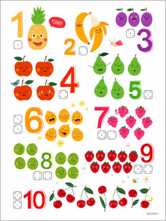 Galleritryck  Learning numbers with cheeky fruits - Heyduda