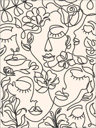 Premiumposter  Lineart faces with flowers - TAlex