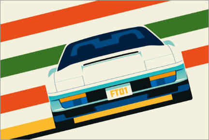 Premiumposter Angled white sports car front with stripes
