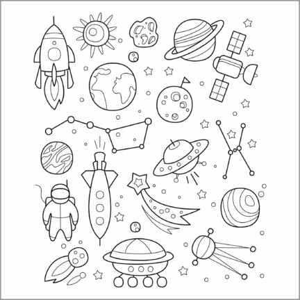 Målarbild  Space for coloring - Kidz Collection
