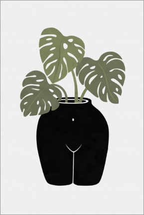 Premiumposter Vase with monstera leaves