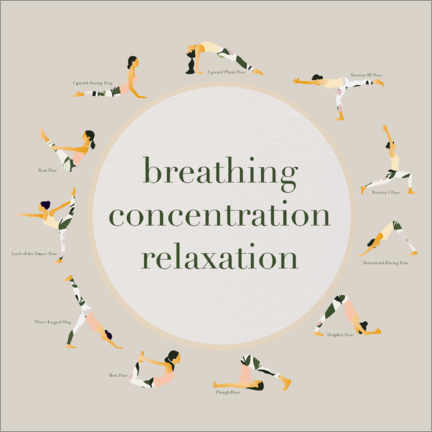 Trätavla  Yoga - breathing concentration relaxation