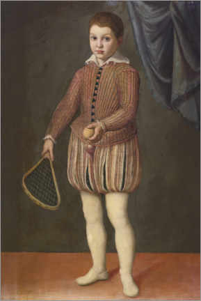 Premiumposter  Portrait of a boy holding a tennis racket and ball - Sofonisba Anguissola