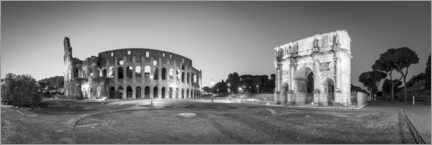 Premiumposter Colosseum and Arch of Constantine black and white