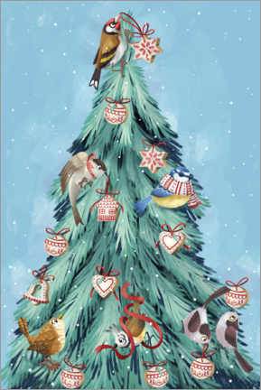 Canvastavla  Birds of the forest, decorating the Christmas tree - Leonora Camusso