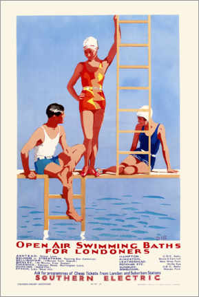 Aluminiumtavla  Open Air Swimming Baths for Londoners - English School