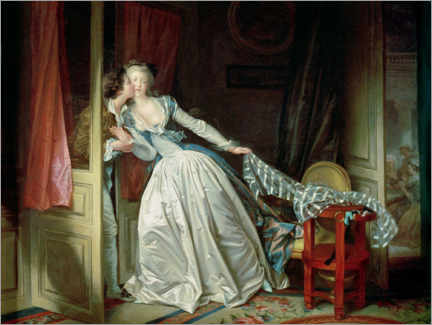 PVC-tavla  The stolen kiss - Jean-Honoré Fragonard
