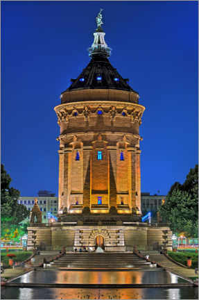 Trätavla  Lighted Water Tower in Mannheim - FineArt Panorama