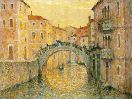 Canvastavla  Morning sun in Venice - Henri Le Sidaner
