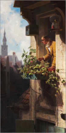 Akrylglastavla  Man Watering the Window Box - Carl Spitzweg