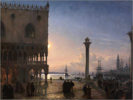 Akrylglastavla  Piazza San Marco by moonlight - Friedrich Nerly