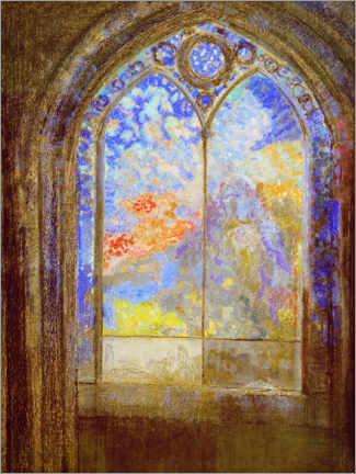 Canvastavla  Church window - Odilon Redon