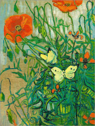 Trätavla  Butterflies and poppies - Vincent van Gogh