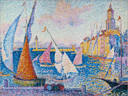 Premiumposter  Sailing boats in the harbour of Saint Tropez - Paul Signac