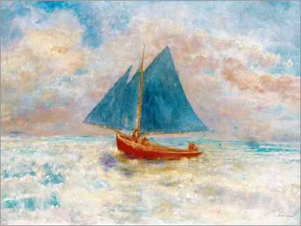 Canvastavla  Red boat with blue sails - Odilon Redon