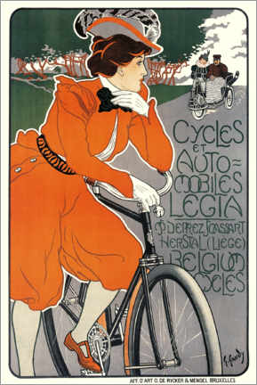 Canvastavla  Bicycles and automobiles - Georges Gaudy