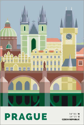 Premiumposter prague skyline