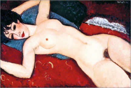 Premiumposter  Sleeping Nude with Arms Open (Red Nude) - Amedeo Modigliani