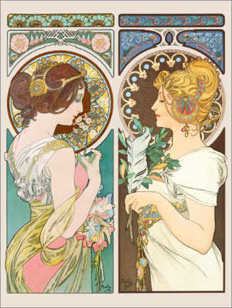 Canvastavla  Primrose & Feather - Alfons Mucha