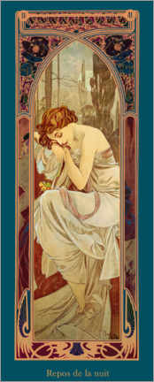 Premiumposter  Times of the Day - Night's Rest - Alfons Mucha