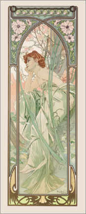 Canvastavla  Times of the Day - Evening Contemplation - Alfons Mucha