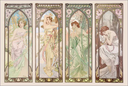 Akrylglastavla  Les heures du jour (Times of the Day) - Alfons Mucha