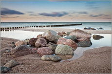 Galleritryck  Stones and groynes on shore of the Baltic Sea. - Rico Ködder