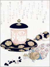 Självhäftande poster  A Pot of Tea and Keys - Katsushika Hokusai