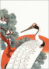 Galleritryck  First sunrise of the New Year, with a crane in a pine tree - Utagawa Hiroshige