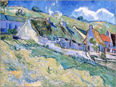 Trätavla  Thatched cottages at Auvers-sur-Oise - Vincent van Gogh