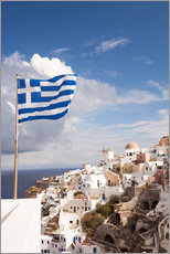 Galleritryck  Greek flag and village. Oia, Santorini, Greece - Matteo Colombo