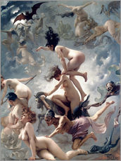 Självhäftande poster  Witches going to their Sabbath - Luis Ricardo Falero