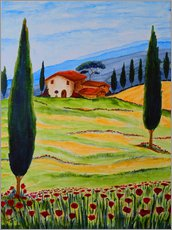 Galleritryck  Flowering Poppies of Tuscany 4 - Christine Huwer
