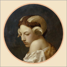 Canvastavla  Woman's head crowned with ram's horns - Jean Leon Gerome