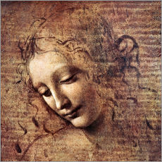 Självhäftande poster  Head of a Young Woman with Tousled Hair (La Scapigliata) - Leonardo da Vinci