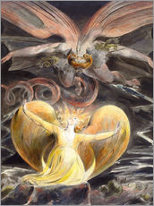 Självhäftande poster  the great red dragon and the woman clothed with sun - William Blake