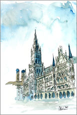Galleritryck  Munich City Hall Aquarell - M. Bleichner
