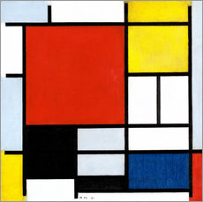 Självhäftande poster  Composition with red, yellow, blue and black - Piet Mondriaan