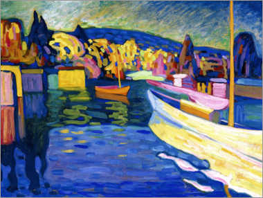 Canvastavla  Autumn landscape with boats - Wassily Kandinsky