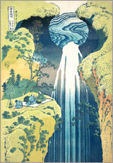 Självhäftande poster  Waterfall of Amida at the Kiso Street - Katsushika Hokusai