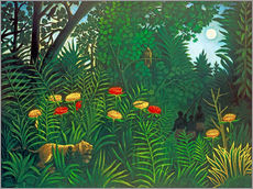 Galleritryck  Exotic Landscape with Tiger and Hunters - Henri Rousseau