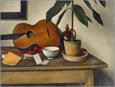 Canvastavla  Still life with guitar - Alexander Kanoldt