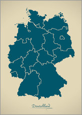 Galleritryck  Modern map of Germany Artwork Design - Ingo Menhard