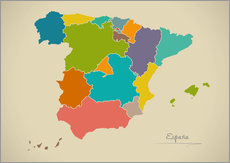 Galleritryck  Modern Map of Spain Artwork Design - Ingo Menhard